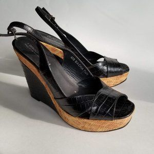 DONALD J. PLINER | black leather wedge sandals
